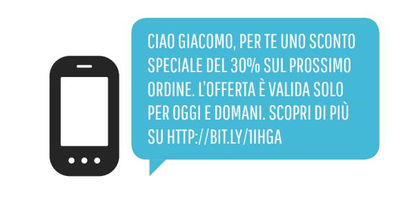 Un esempio di SMS promozionale