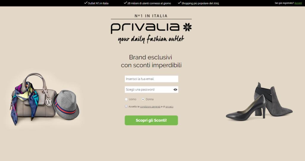 Un'ottima landing page da Privalia