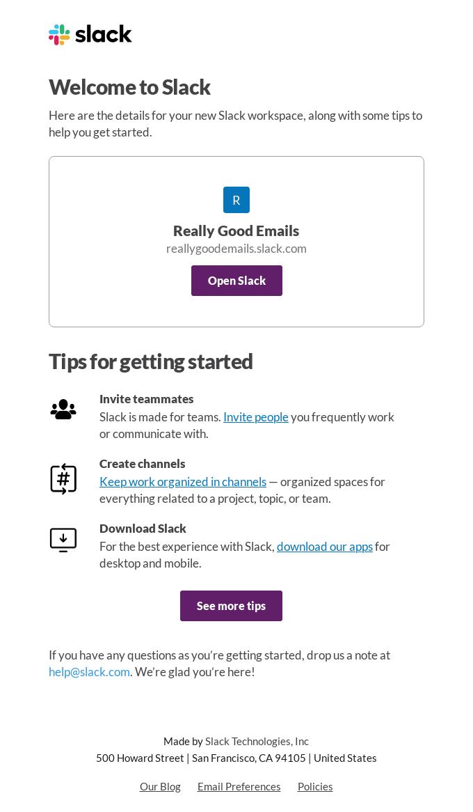 email di benvenuto Slack